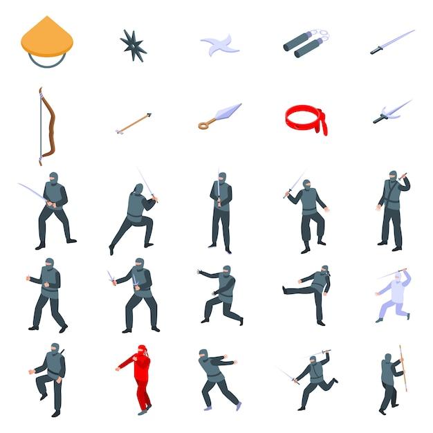 Ninja iconen set, isometrische stijl Premium Vector