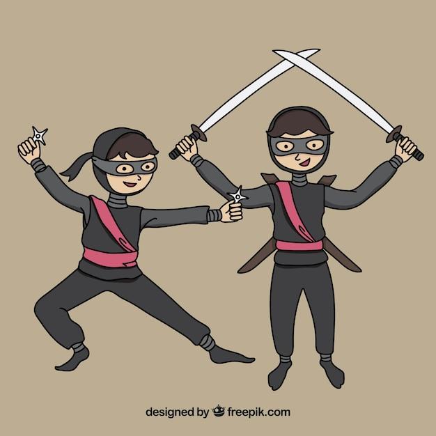 Ninja karakterverzameling Gratis Vector