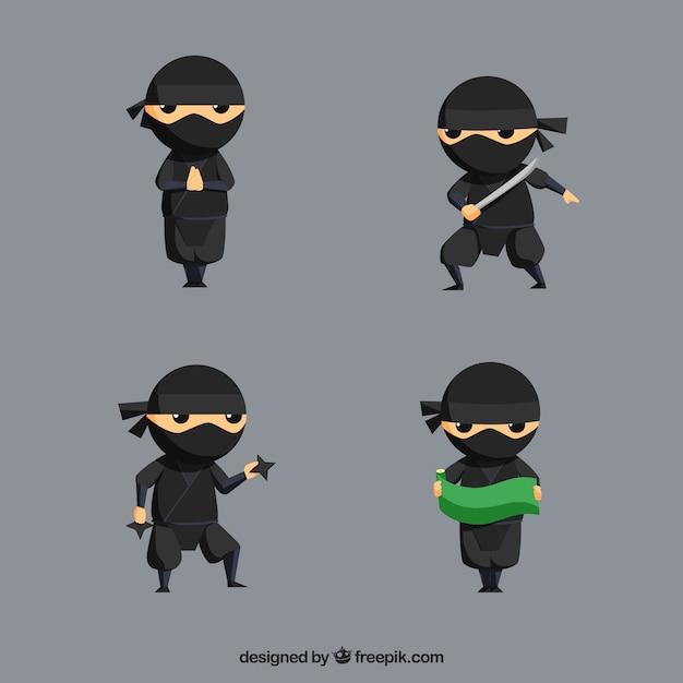Ninja-krijger in verschillende poses met plat ontwerp Gratis Vector