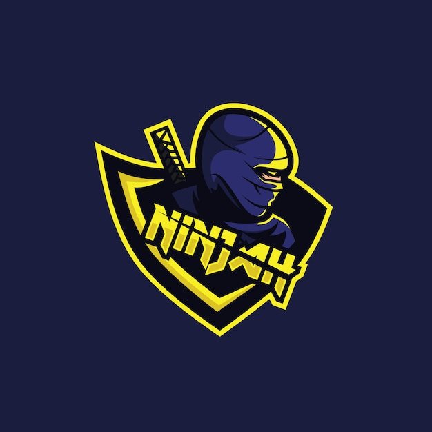 Ninja-logo voor squadegaming Premium Vector