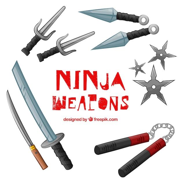 Ninja wapencollectie Gratis Vector