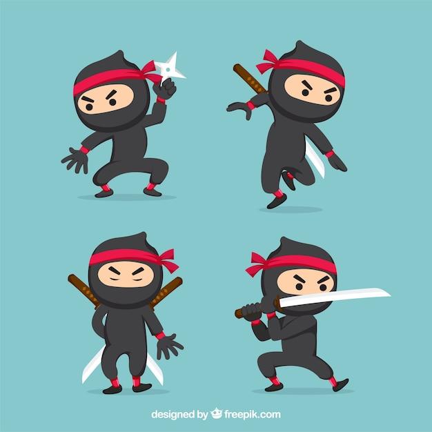 Ninjas-karaktercollectie met verschillende poses Gratis Vector