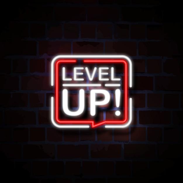 Niveau omhoog neon stijl teken illustratie Premium Vector