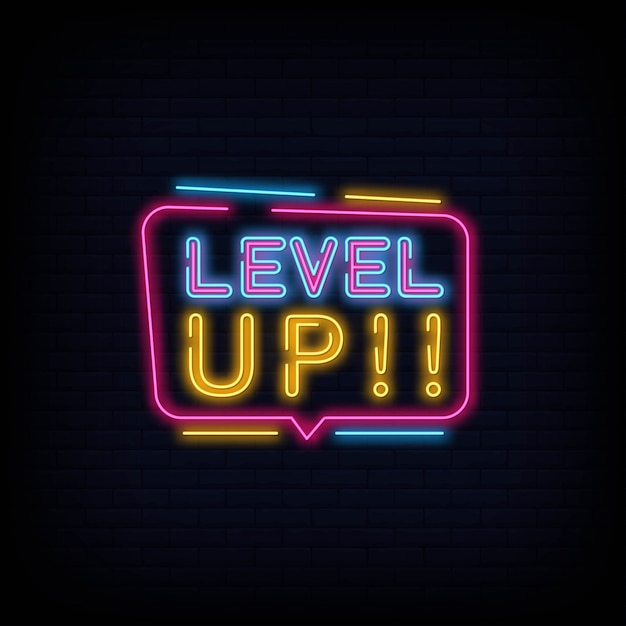 Niveau omhoog neon teken tect vector Premium Vector