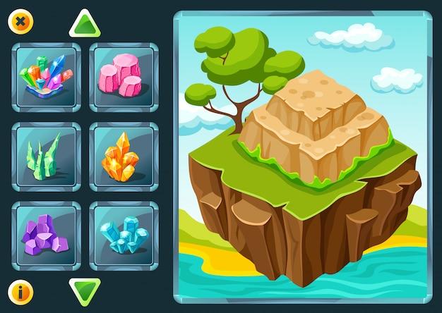 Niveau selectie scherm van computerspel Gratis Vector