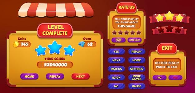 Niveau voltooien beoordeel ons en verlaat menu pop-up scherm met sterren en knop Premium Vector