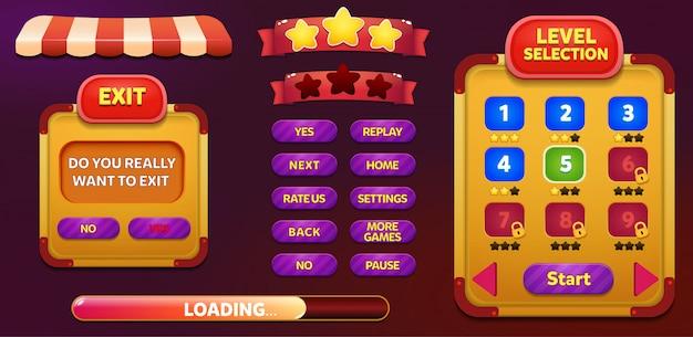 Niveauselectie en pop-up scherm met menu met sterren en knop verlaten Premium Vector