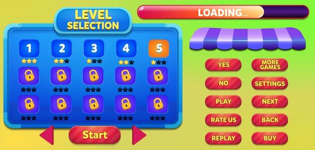 Niveauselectie gamemenu-scène met gameknoppen, balk laden en sterren verliezen Premium Vector
