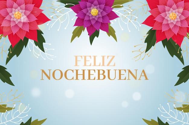Nochebuena achtergrond in plat ontwerp Gratis Vector