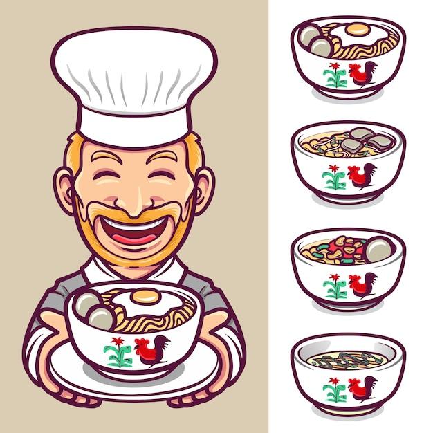 Noedels eten chef-kok karakter label logo set illustratie Premium Vector