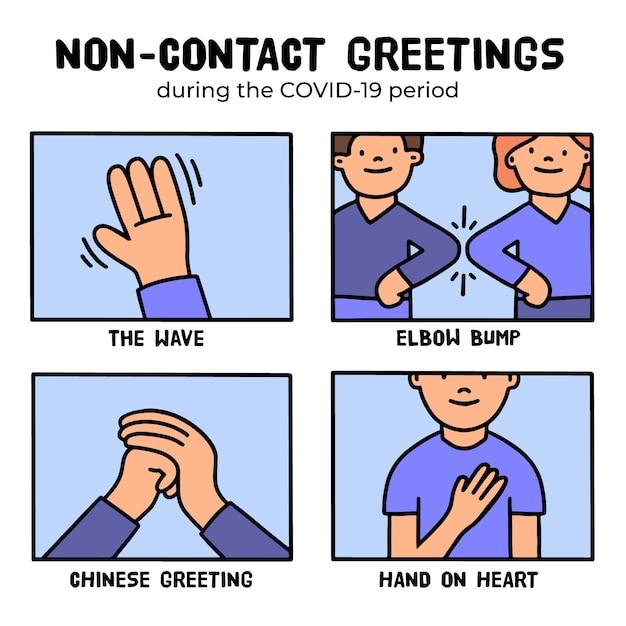 Non-contact begroeting concept Gratis Vector