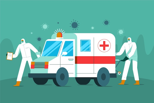 Nood ambulance coronavirus Gratis Vector