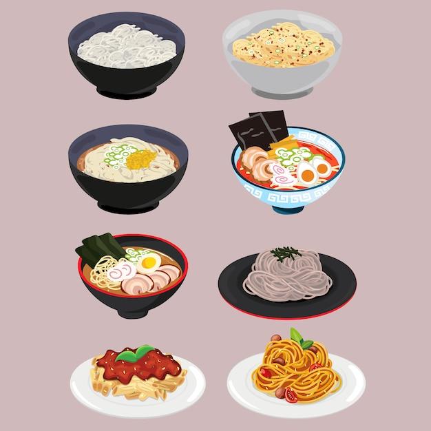 Noodle and pasta set Premium Vector