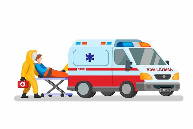 Noodsituatieauto met het hazmatpak van de artsenkleding die patiënt naar het ziekenhuisconcept in beeldverhaalillustratie vervoeren Premium Vector