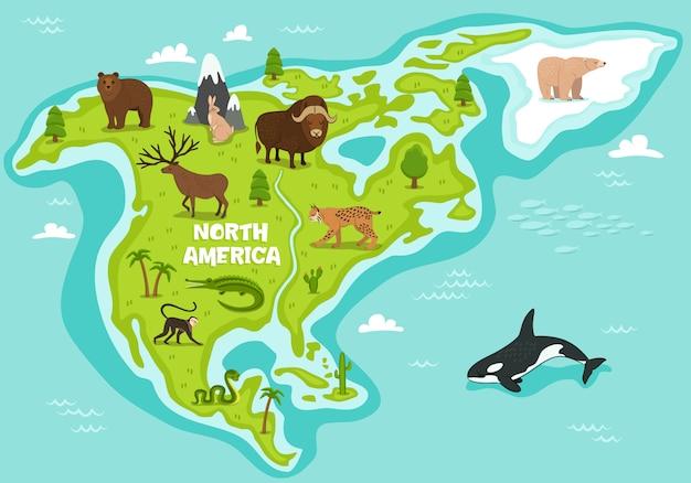 Noord-amerikaanse kaart met dieren in het wild dieren Premium Vector