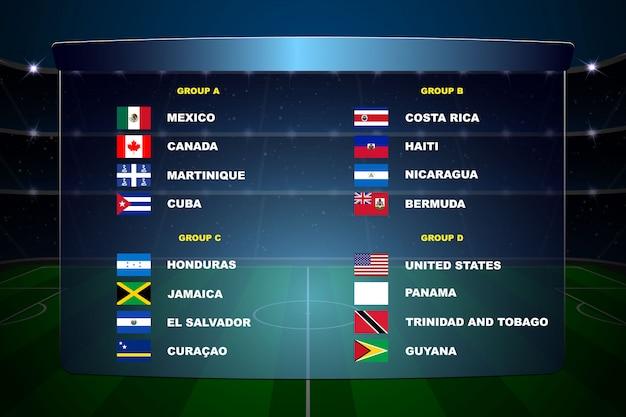 Noord-amerikaanse voetbalbekergroepen Premium Vector