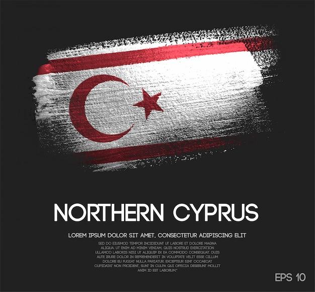 Noord-cyprus vlag gemaakt van glitter sparkle brush paint Premium Vector