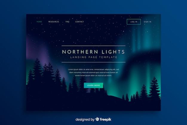 Noordelijke lichten boven boslandingspagina Gratis Vector