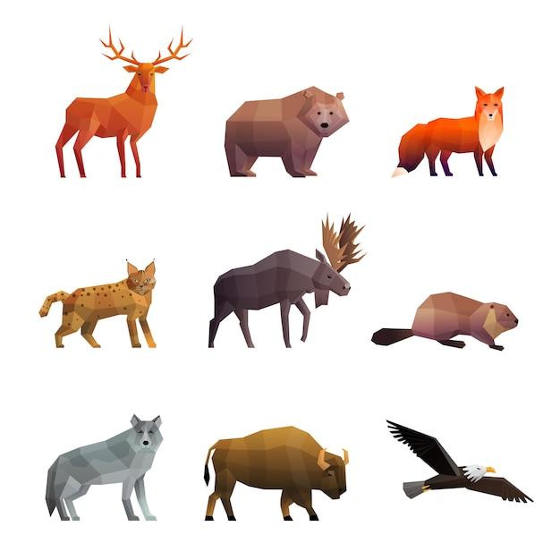 Noordelijke wilde dieren veelhoekige icons set Gratis Vector