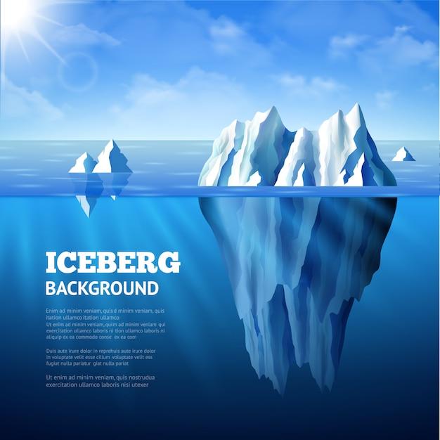 Noordzeeposter met ijsbergen en zon op blauwe hemelachtergrond Gratis Vector