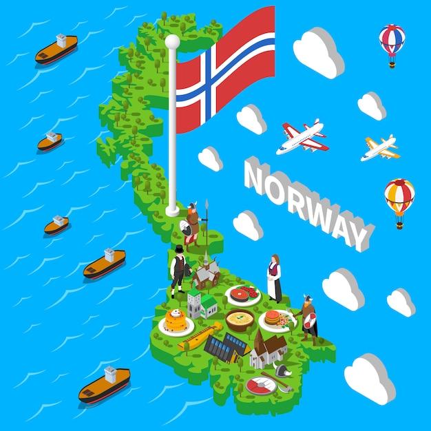 Noorwegen kaart toeristische symbolen isometrische poster Gratis Vector