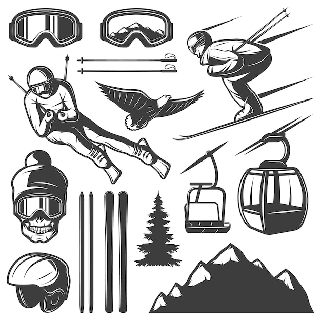 Nordic skiing elements set Gratis Vector