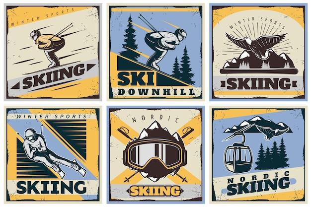Nordic skiing illustratie set Gratis Vector