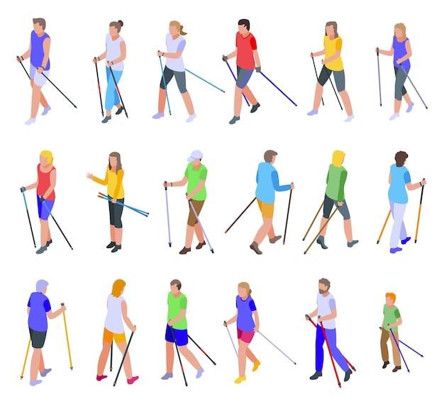 Nordic walking pictogrammen instellen. isometrische reeks nordic walking-iconen voor web geïsoleerd op een witte achtergrond Premium Vector