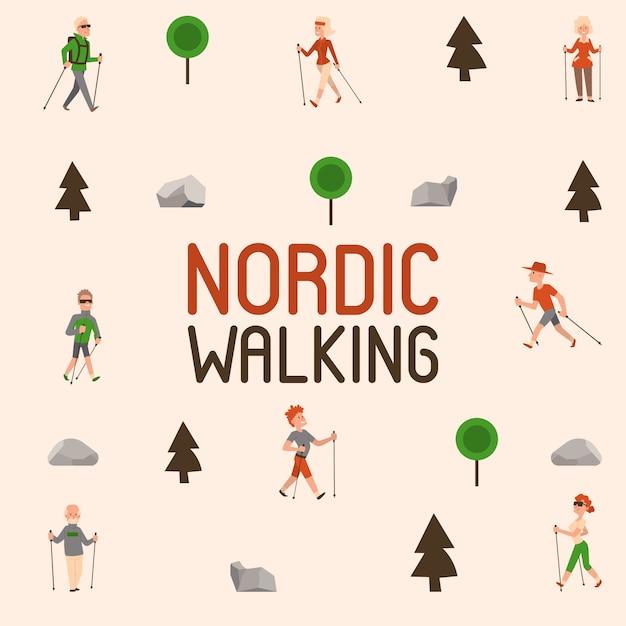 Nordic walking sport mensen vrije tijd sport tijd actieve nordwalk man en vrouw zomer oefening. outdoor fitness gezonde actieve karakters. Premium Vector