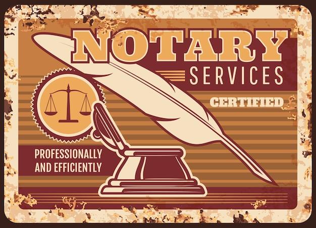 Notaris metalen plaat roestig Premium Vector