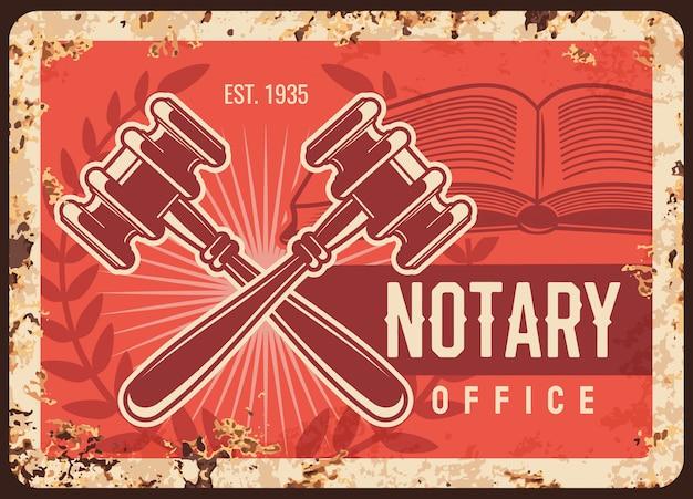 Notaris metalen roestige plaat, advocaat advocatenkantoor Premium Vector