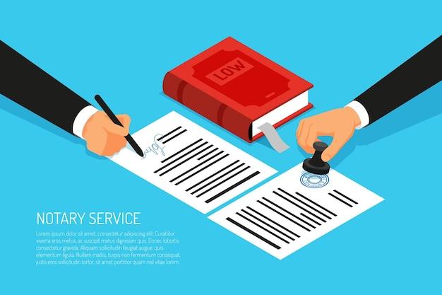 Notarisdienst uitvoering van documenten zegel en handtekening op papier op blauwe isometrisch Gratis Vector
