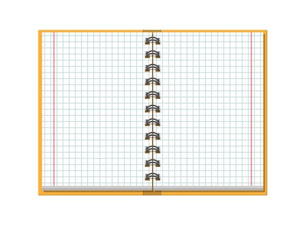 Notebook gecontroleerd schoolkrant. school, bedrijf, onderwijssjabloon. briefpapier. kantoorbenodigdheden. Premium Vector