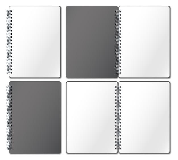 Notebook mockup. leeg voorbeeldenboek, notitieboekjespagina's die op metaalspiraal worden gebonden en open gebonden schetsboek realistische 3d illustratie Premium Vector