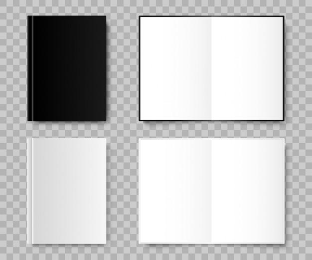 Notebook. notebook realistische zwart-witte kleuren. sjabloon notebooks, geïsoleerd. illustratie Premium Vector