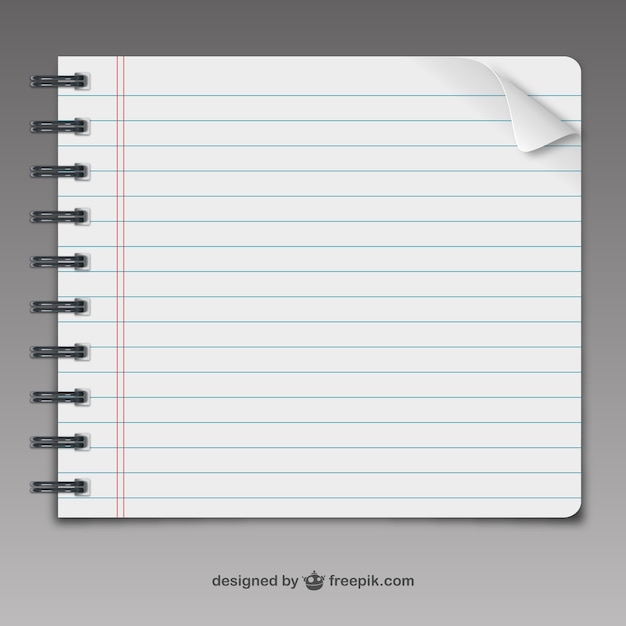 Notebook-pagina vector Gratis Vector