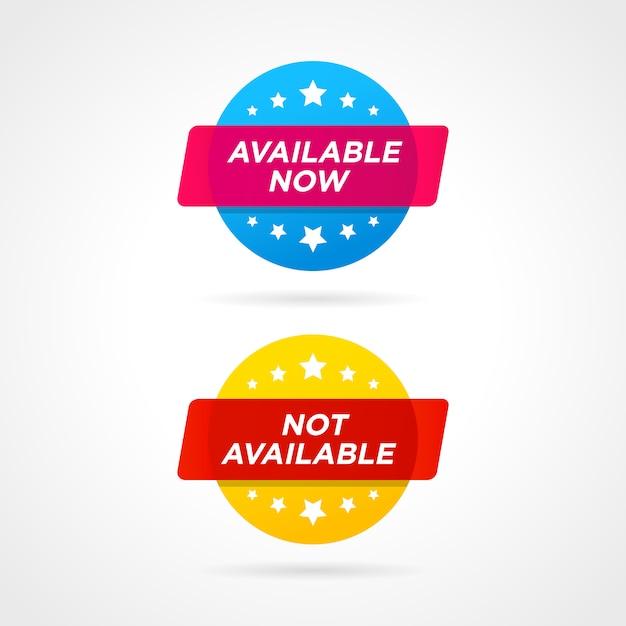Nu beschikbaar en niet beschikbaar labels Premium Vector