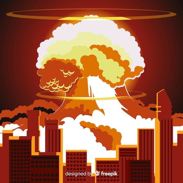 Nucleair explosie-effect plat ontwerp Gratis Vector