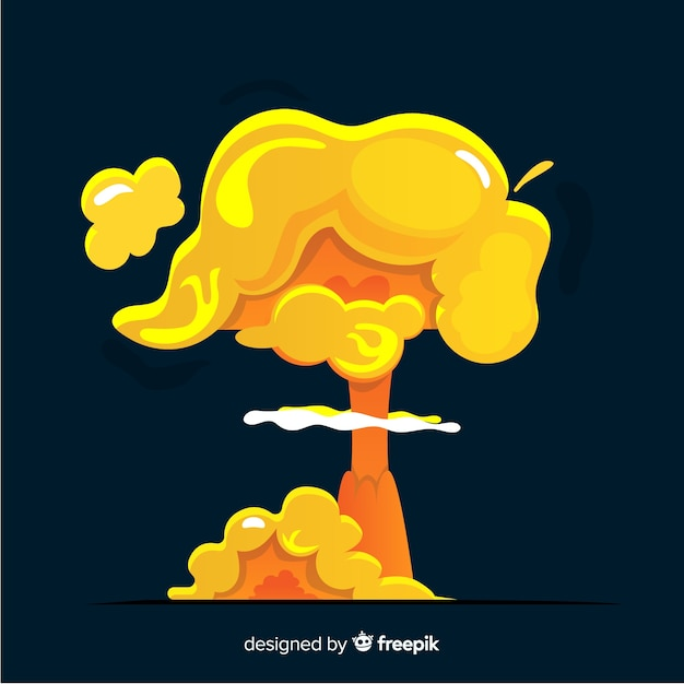 Nucleaire explosie effect cartoon stijl Gratis Vector