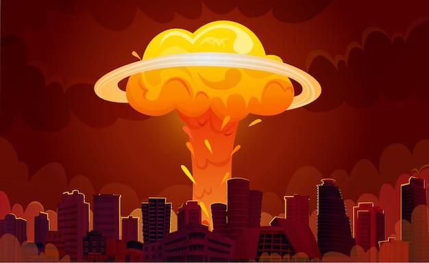 Nucleaire explosie stad cartoon poster Gratis Vector