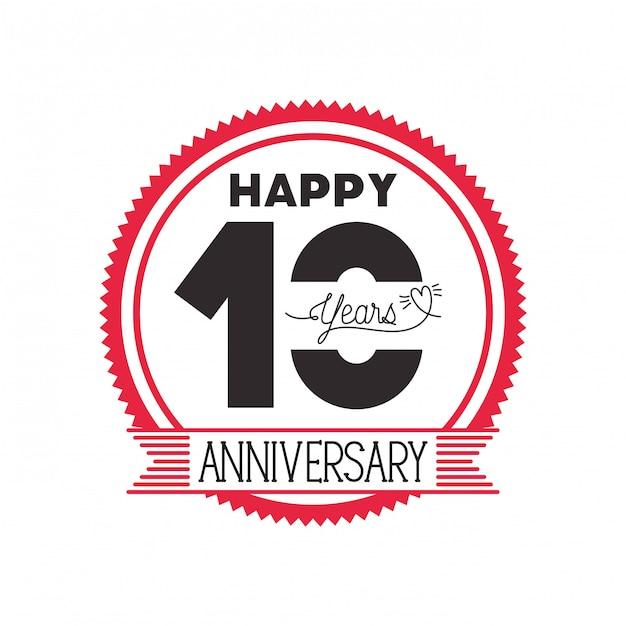 Nummer 10 voor het embleem van de verjaardag of insignes Premium Vector