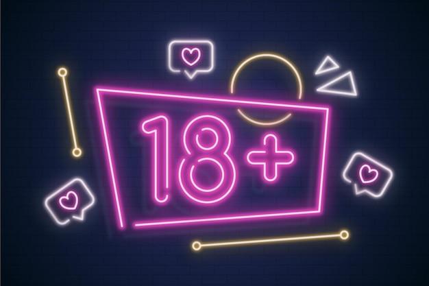 Nummer 18+ in neonstijl Premium Vector