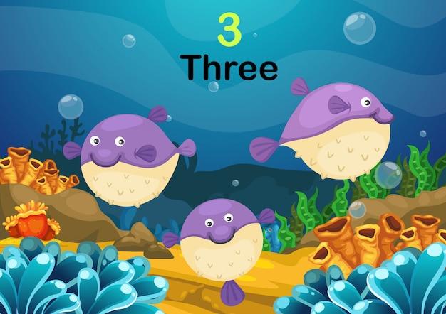 Nummer drie puffer vissen de zee vector Premium Vector
