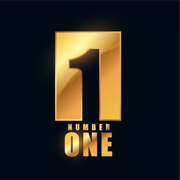 Nummer één gouden glanzend labelontwerp Gratis Vector
