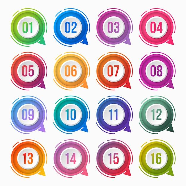 Nummer opsommingsteken kleurrijke verloop met tekstvak Premium Vector