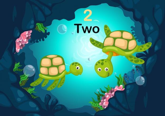 Nummer twee schildpad onder de zee vector Premium Vector