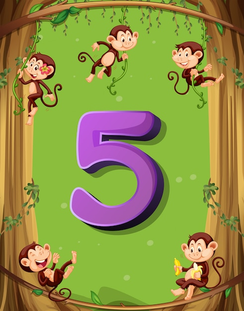 Nummer vijf met 5 apen aan de boom Gratis Vector