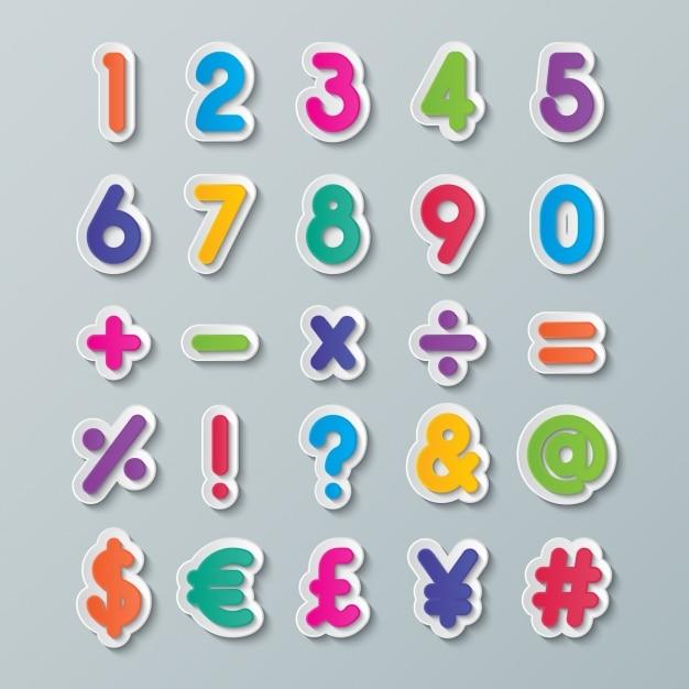 Nummers en symbolen van kleuren Gratis Vector