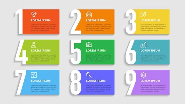 Nummers infographic voor zakelijke opties, stappen, processen Premium Vector