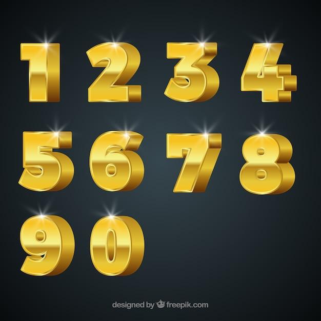 Nummerverzameling met gouden stijl Gratis Vector